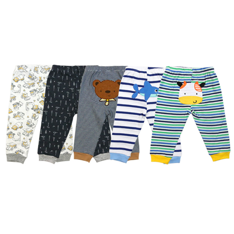 5 pcs/set baby pants 0-24 months bebe pant 3 pcs embroidery+2 pcs print cuff style pant children colorful and cute wear 15-a01(China)