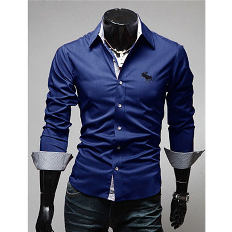 Mens casual slim fit shirt luxury business stylish dress for Mens fitted long sleeve dress shirts