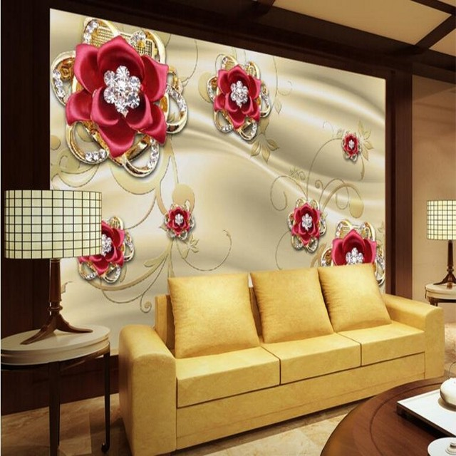 beibehang Large Custom Wallpaper Gold Jewelry Diamond Red Rose