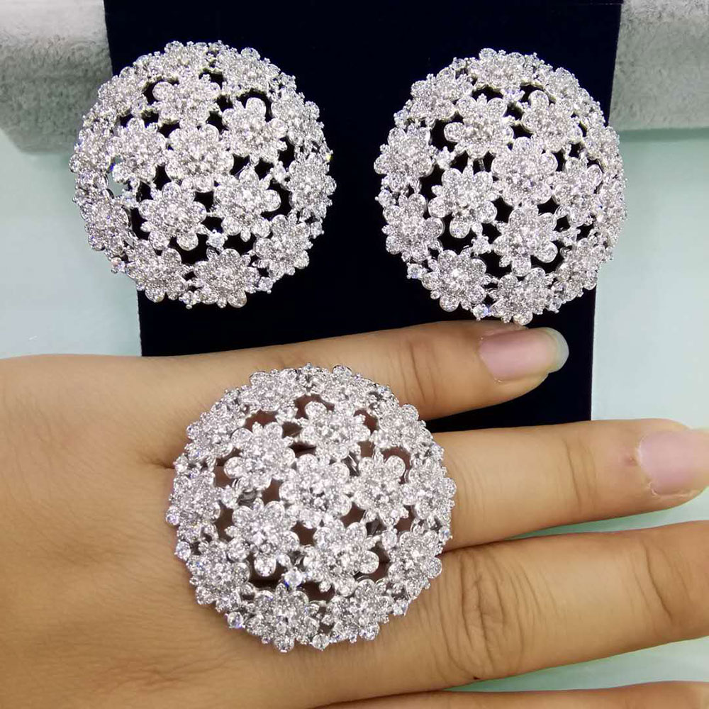 GODKI Floral Flower Geometry Fashion Luxury Super AAA Cubic Zirconia Women Engagement Earring Ring Jewelry Set