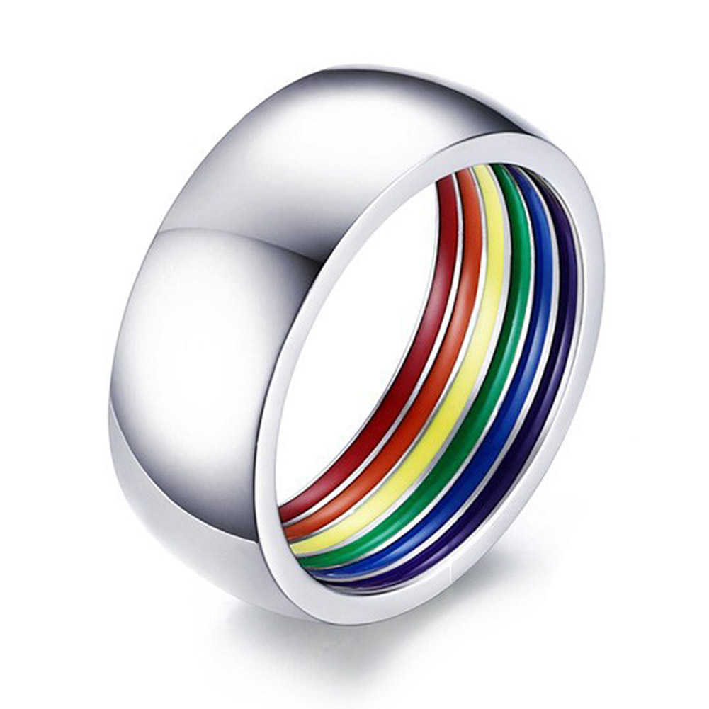 Inside Rainbow Ring For Men Stainless Steel Wedding Ring 8MM Wide Pride Jewelry