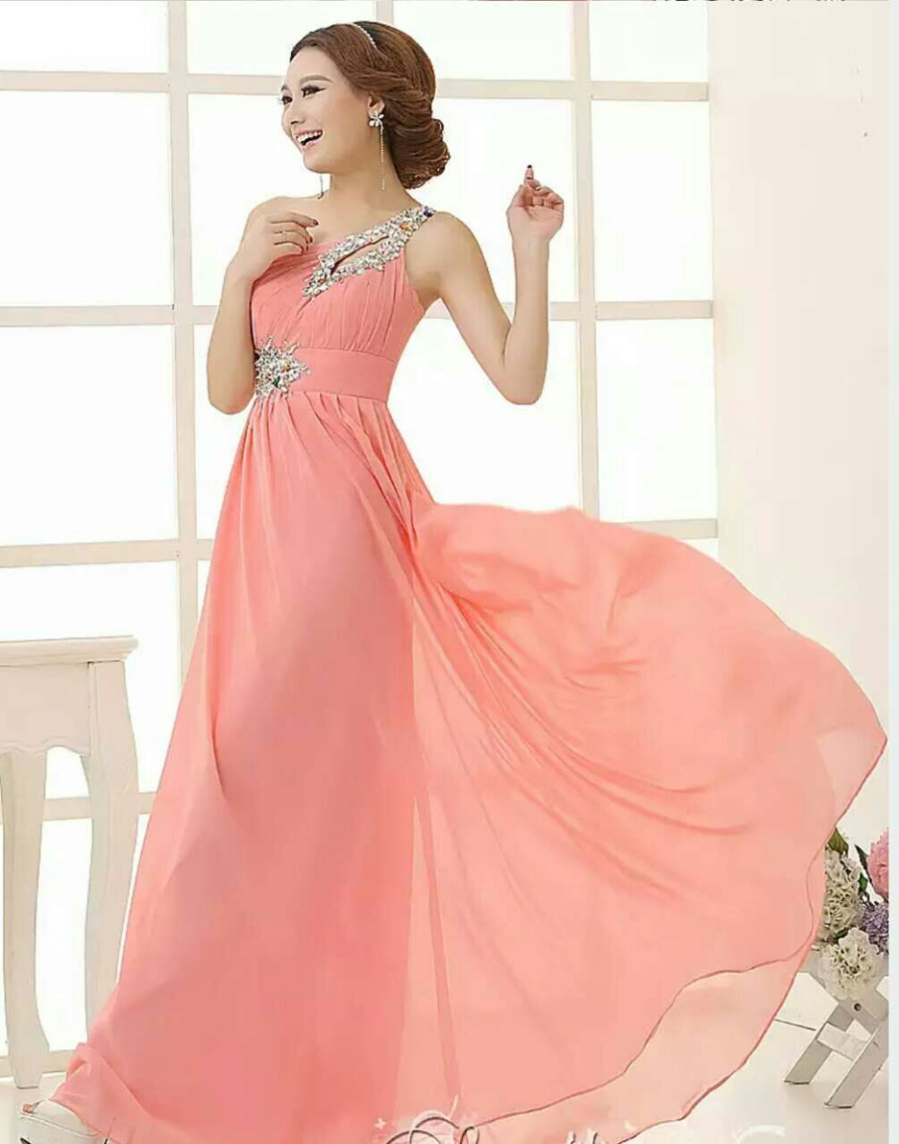 Beaded crystal long chiffon bridesmaid dress under 50 one shoulder beaded crystal long chiffon bridesmaid dress under 50 one shoulder bridesmaid gowns lace up party dress elegant 2017 in bridesmaid dresses from weddings ombrellifo Gallery