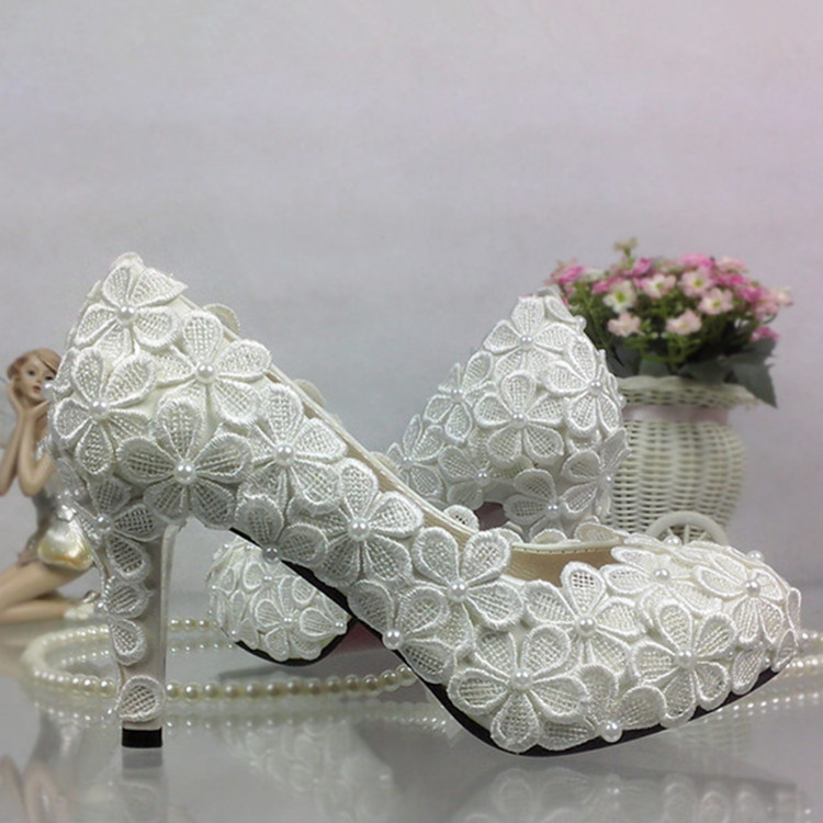 ФОТО Pearl Lace White Wedding Shoes High Flower handmade winter Bride Bridesmaid Women's Pumps Large Size 35-42 Free Shipping Party