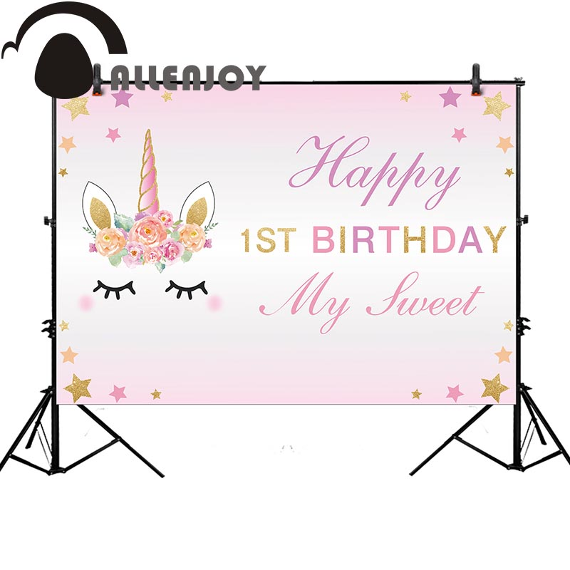 Allenjoy photography background pink unicorn birthday 1st girl party backdrop photobooth photo studio professional allenjoy backdrop spring background green grass light bokeh dots photocall kids baby for photo studio