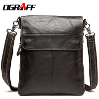 OGRAFF Men Messenger Bags Genuine Leather Bag Briefcases Large Capacity Famous Brands Shoulder Designer High Quality