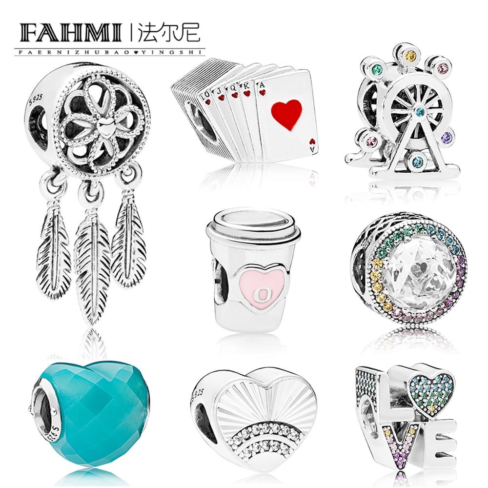 FAHMI 100% 925 Sterling Silver 1:1 Branelli di Fascino Multi-Colore Radiante Cuori BLU FORMA DI AMORE di BERE PER ANDARE ARCOBALENO Carte Da Gioco