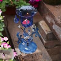 Aqumotic Blue Candlestick Multifunction Vase Iron Dark Blue Glass Candlestick Holders Light Crystal Candlesticks Desktop Decor
