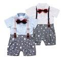 Macacão Meninos Cavalheiro Camisa Gravata borboleta Romper Do Bebê Recém-nascido Verão Correias Bebe Macacão 100% Macacão de Algodão New Born Outfit