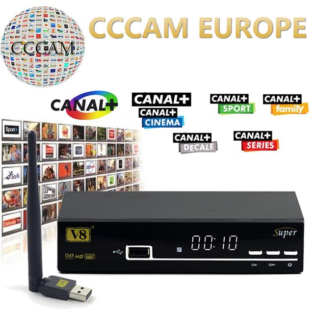 1 Ano Europa Servidor Cccam HD freesat V8 Super DVB-S2 Satélite receptor Cccam Cline Completa 1080 P Itália Espanha Árabe + 1 PC USB Wifi
