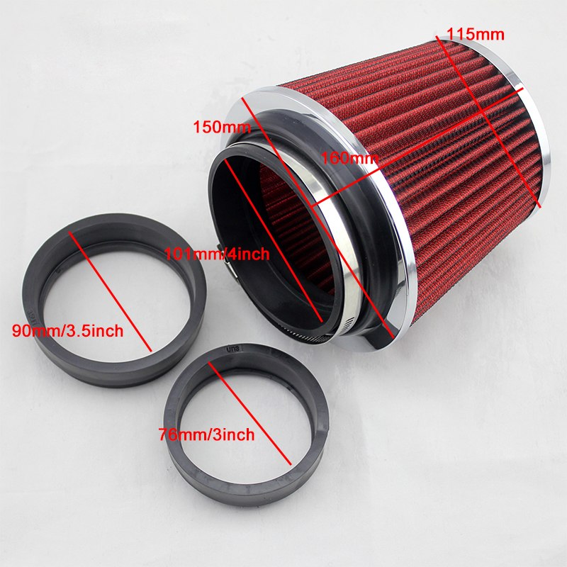 Air Intakes Parts Car refit air intake air filter air intake kit high flow bellows red