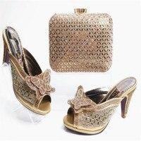 G20 Ouro 2017 Upscale da Mulher Africano Sapatos E Bolsa Da Moda senhora sapatos de Salto Alto Do Casamento Bombas Com Saco Para Venda Strass sandálias