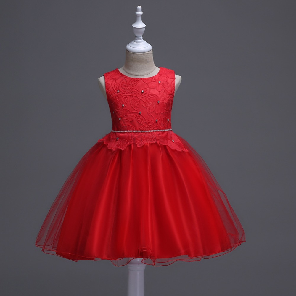 Summer Flower Girls Dress Bow Tie Red Wedding Pageant Sleeveless Princess Party Gown Dresses Children Clothes 4 to 10 Years цены онлайн