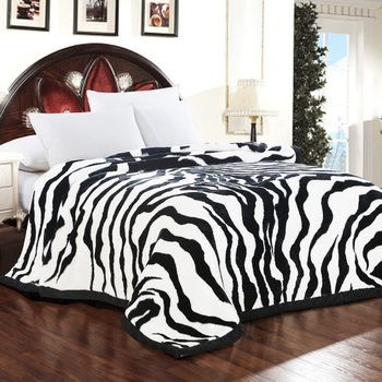 Luxury Quality Thick Raschel Mink Blanket Zebra Skin Pattern Printed Sofa Throw Twin Queen Size Super Soft Warm Bed Blanket