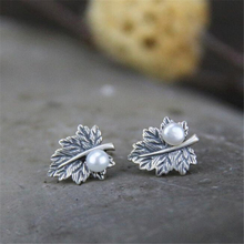 Fashion Luxury Statement Leaf Earrings For Women Simulated Pearl 925 Sterling Silver Wedding Jewelry Brincos