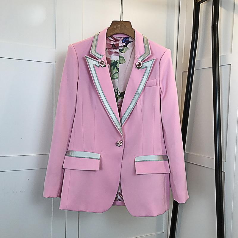 HIGH QUALITY New Fashion 2019 Star Style Blazer Women s Single Button Floral Liner Rose Blazer