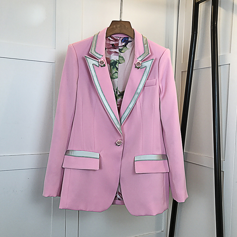 HIGH QUALITY New Fashion 2020 Star Style Blazer Women's Single Button Floral Liner Rose Blazer Outer Coat Pink