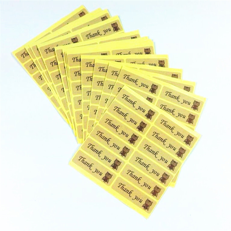 120PCS Vintage Thank You With Owl Sealing Label Kraft Rectangle Gift Sticker For Baking Handmade Products Children' DIY
