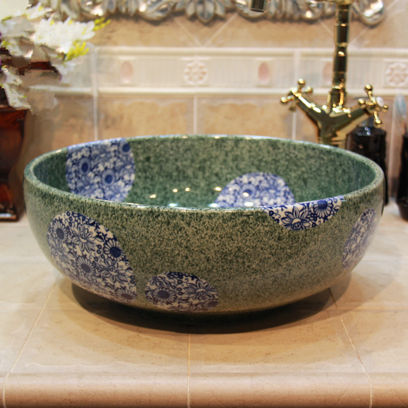 Europe Style Luxury Bathroom Vanities Chinese Jingdezhen Art Counter Top Ceramic Hand Wash Basin Cabinet Bathroom Sinks