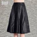 Faldas de cuero genuino negro mujeres rivet decor flare falda faldas jupe saia lt817 etek 100% piel de cordero falda bottom envío libre