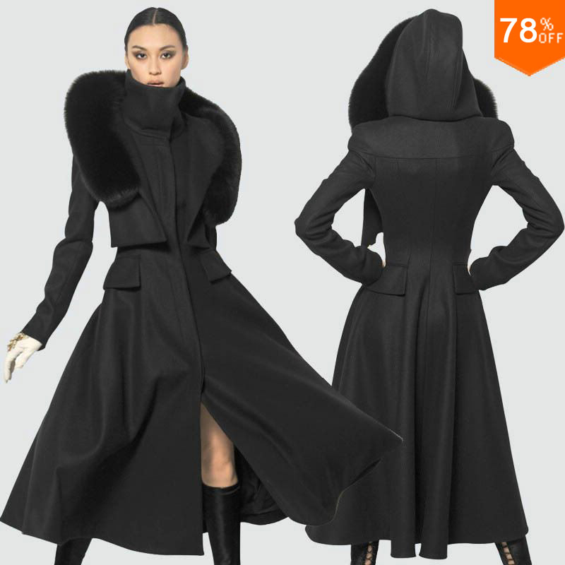 Luxury Black cold outwear brand kahki Women's Double-breasted Luxury Wool Long Coat Winter Clothes Free Shipping