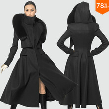 Luxury Black cold outwear brand kahki Womens Double-breasted Wool Long Coat Winter Clothes  Free Shipping