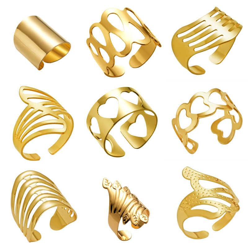 Anéis ajustáveis Oco Aberto Listrado Flor Do Coração Aberto Geométrica Anel de Aço Inoxidável Dos Homens Das Mulheres Do Punk Knuckle Anéis Partido