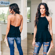 Summer Tank Tops 2019 New Women Casual Black Sleeveless Backless Loose Double Ruffles Size S-XL