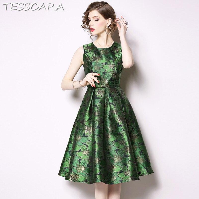 TESSCARA Women Spring Elegant Jacquard Dress Festa Female Vintage Designer Vestidos High Quality Retro Office Lady