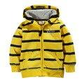 2016 novas roupas de inverno infantil listras amarelas personalizado moda camisola com capuz crianças camisola meninas