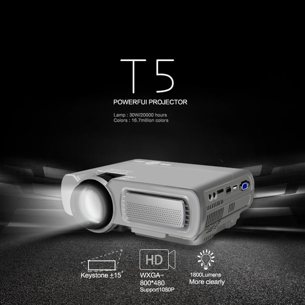 T5 HD 1080P Mini projector 1920*1080 Resolution For Phone Home Cinema Theater 1800 lumen LCD Projector HDMI AV USB VGA TF Beamer image