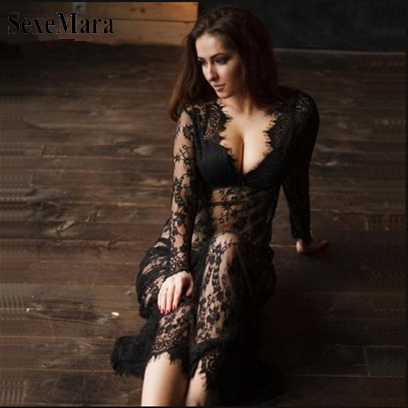 2019 Pregnant Lace Dress Women Front Split Long Maxi Maternity Black&White Lace Dress Gown Photography Prop See Through Dress (13)