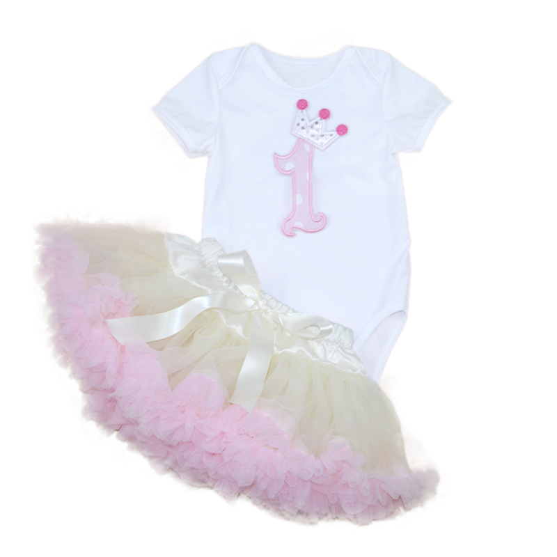 Infant TUTU Skirts 2016 Cotton Solid Cartoon Print Bodysuit+Skirt With Ruffles Lace Ball Gown Girl Newborn Baby Top Clothing