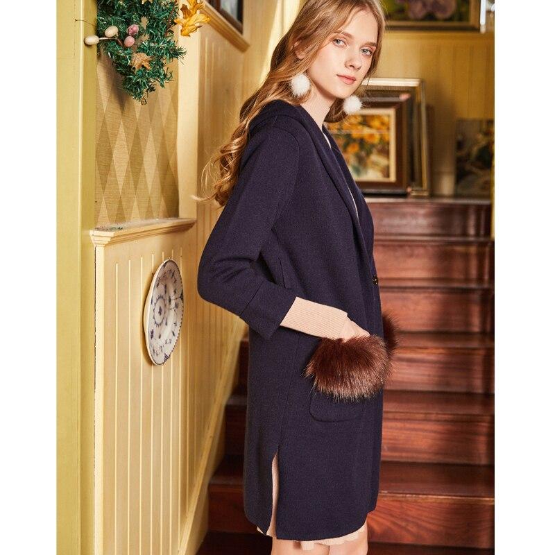 Verano Azul Outwear Sash Primavera Cardigan Jw17044 Mujer Simple Y Artka Oscuro Suéter Largo Nueva Capucha Con Blue Dark W6YPqEWw