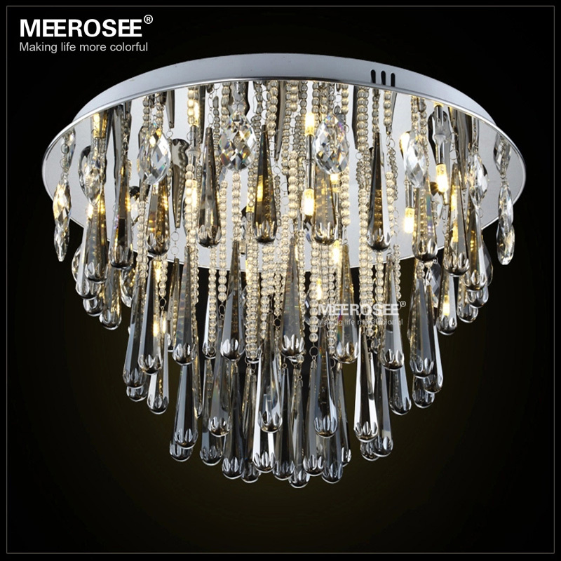 Round Crystal Chandelier Light Fixture G4 Flush Mounted Lustres de cristal Chandelier lighting for foyer Lamparas de Techo Home