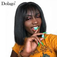 13x6 Lace Front Human Hair Wigs With Bangs Short Bob Wig Pre Plucked With Baby Hair Straight Frontal Wigs Remy Black Dolago 150%