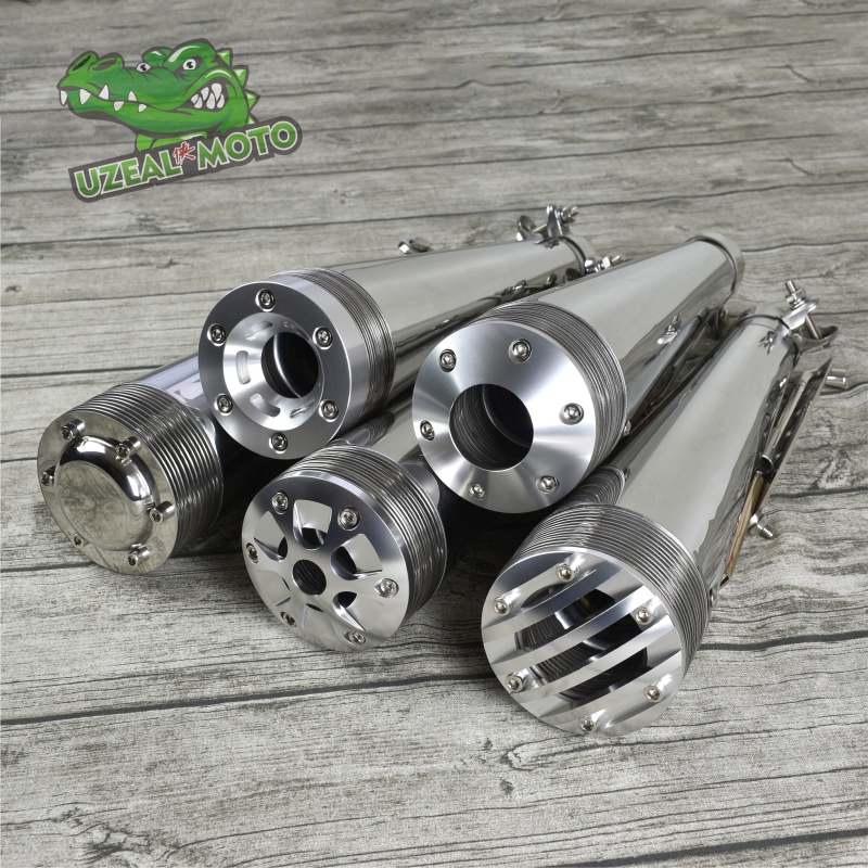 Super Trap Silencer Exhaust Pipe Retro Motorcycle Modified Stainless Steel Vintage Silencer  Muffler