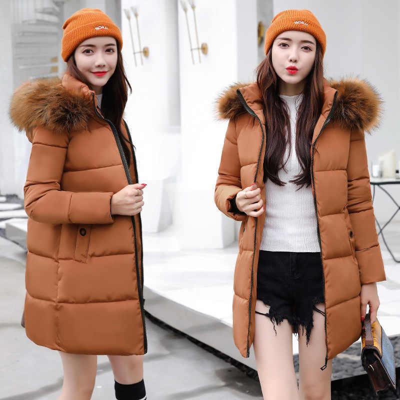 4b756f11ca024 Меховой воротник Повседневное Для женщин зимние пальто женские в Корейском  стиле Длинные куртки парки Зимняя Дамская