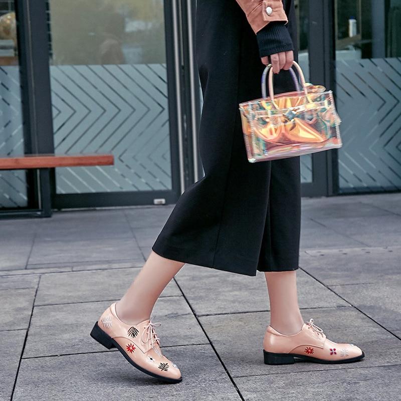 Pour Vintage Femmes Femme Mocassins Cuir Plates En Dentelle rose Véritable Les Oxford Up Chaussures Broderie Casual Appartements Noir 60q6wxS4