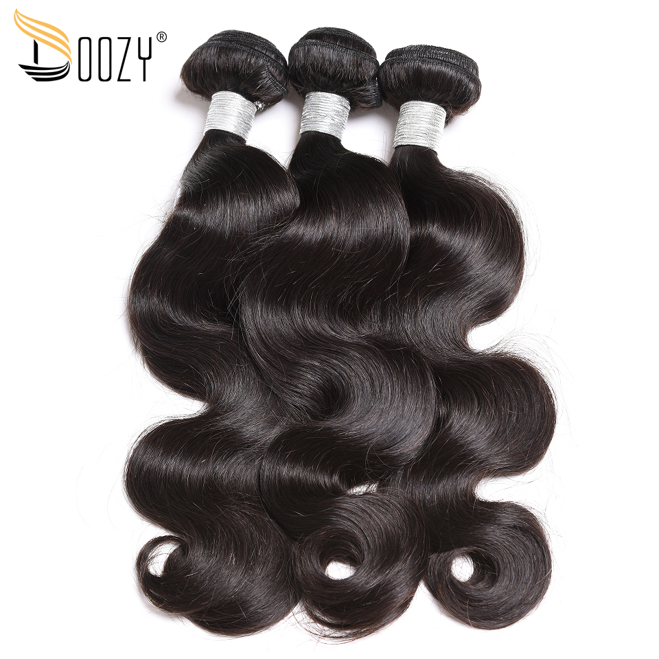 Doozy Body Wave Peruvian Hair 3 Bundles Double Weft Natural Color Remy Human Hair Weave
