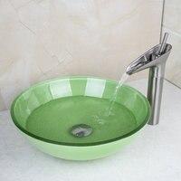 2014 Fresh Waterfall Brand 2014 New Washbasin Lavatory Tempered Glass Sink Bath 407996104 1 Combine Brass