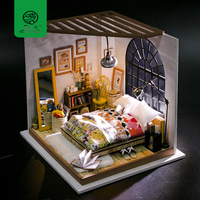 Robud DIY Wooden Miniature Dollhouse Kits with Accessories and Furniture Alice's Dreamy Bedroom Mini Doll House Toys for Kids