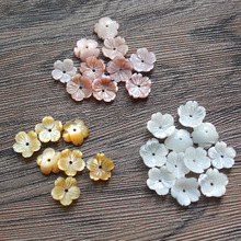 FishPeach 10Pcs/lot 8-10MM White Natural Mother Pearl Flower Seashell Stone Shell Beads For Women Diy Jewelry Accessories Making