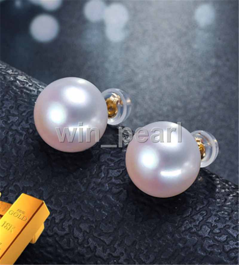 pair of 12mm south sea round white pearl earring