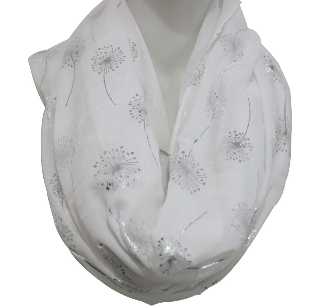 FOXMOTHER 2018 New Fashion White Grey Shiny Bronzing Foil Silver Dandelion Scarf Ring ბეჭედი Foulard Femme Hijab შარფები Dropshipping