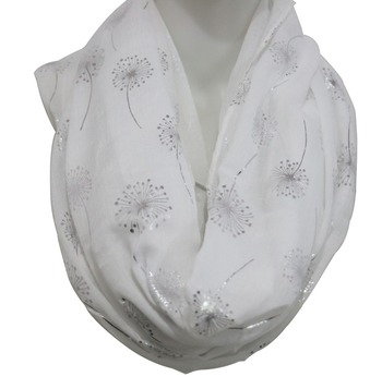 FOXMOTHER 2019 New Fashion White Grey Shiny Bronzing Foil Silver Dandelion Scarf Ring Foulard Femme Hijab Scarves Dropshipping foxmother new vintage pink white cat foulard femme animal cat scarves for cat lover mother gifts scarfs dropshipping