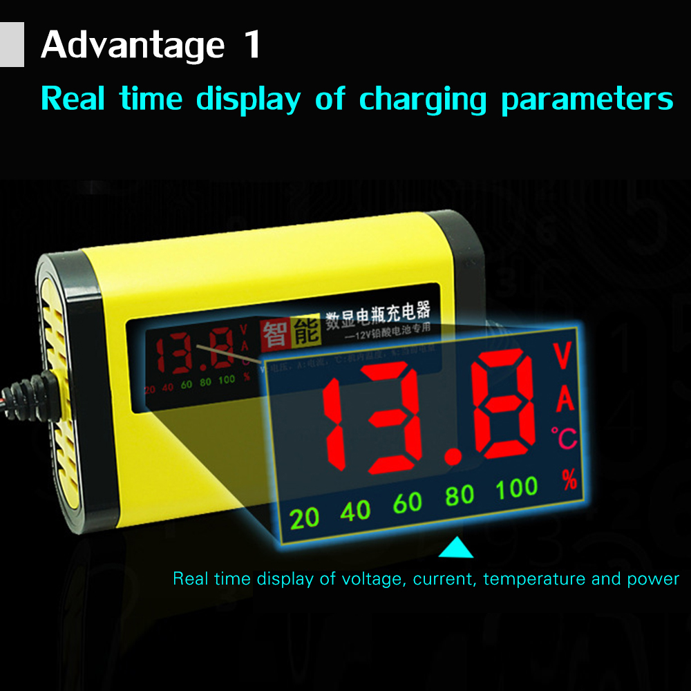Image 1 - 12V 2A LCD Display Smart Motorcycle Car Battery Charger Full Automatic 3 Stages Lead Acid AGM GEL Intelligent 12 Volt 10AH 20AH-in Battery Charging Units from Automobiles & Motorcycles