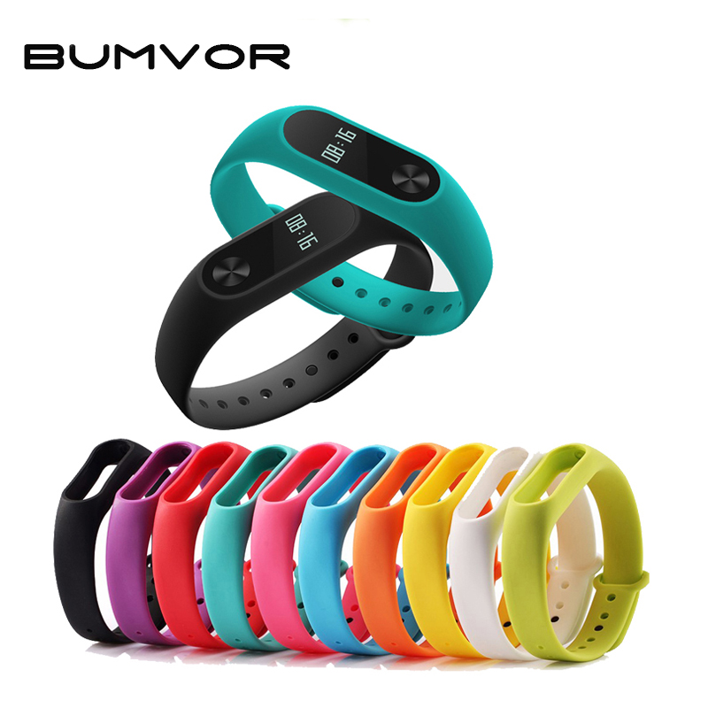 BUMVOR Pure Strap Original Mi Band  Strap For Xiaomi Mi Band 2 Replacement Bracelet Silicone Wristband Accessories Miband