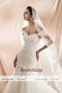 Image 3 - Amanda Novias 2020 New Model Mermaid Wedding Gown Beading Lace Wedding Dress