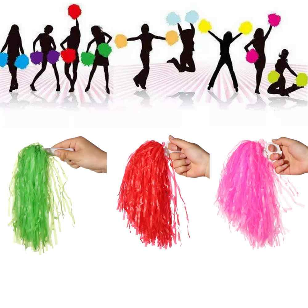 1 coppia Colorful PE Manico In Plastica Metallic Streamer Pompon Cheerleading Tifo Fiore Palla Gioco di Ballo Club di Sport Forniture