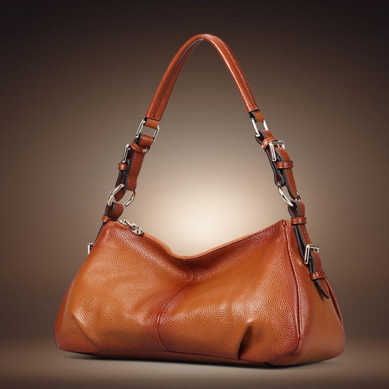 100% Genuine Leather Women Bag\Handbag 2018 New Fashion Elegant Ms. Simple Tote Bag Cowhide ladies' Shoulder bag~13B149 genuine leather women baghandbag cowhide leather simple tote bag ladies fashion shoulder bag messenger bag 16b36